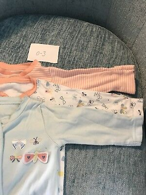 0-3 Months Sleepsuit Bundle Mothercare Nutmeg Butterfly Unicorn x4