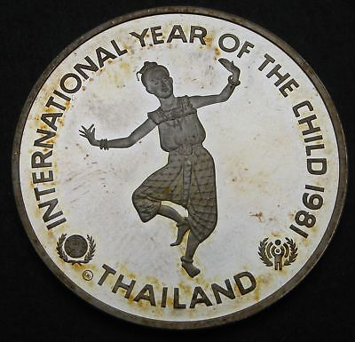 THAILAND 200 Baht BE 2524 (1981) Proof - Silver - Year of the Child - 452