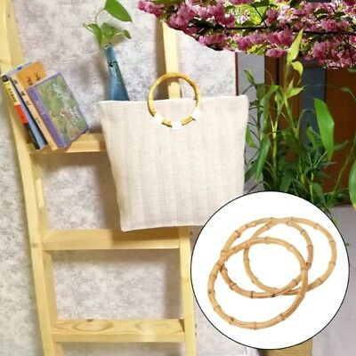 1 x Round Bamboo Bag Handle for Handcrafted Handbag DIY Bags Accessories New