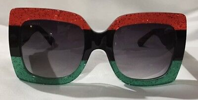 485bfcff79 Gucci GG0083S Red Green Black Gradient Lenses Oversize Sunglasses Authentic  New