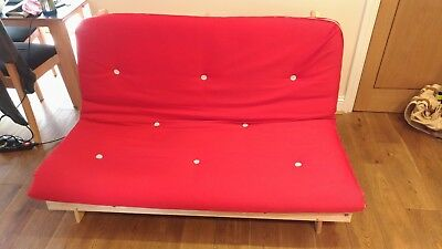 Double 4ft6 Luxury Futon 2/3 Seater Wooden Frame Sofa Bed Mattress