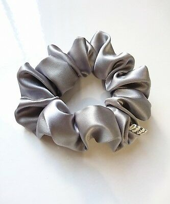 Silver grey colour satin fabric hair scrunchie ponytail holder HANDMADE Quality