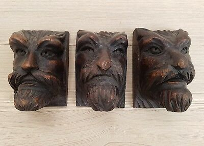 Three Striking Antique French Carved Gothic Head Furniture Embellishments C1880