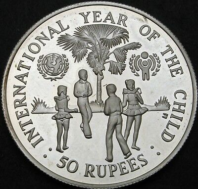 SEYCHELLES 50 Rupees 1980 Proof - Silver - Intl. Year of the Child - 665 ¤