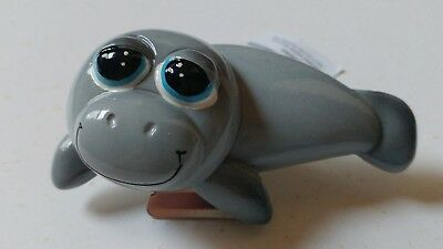 NEW ! Adorable wobble head Manatee Magnet with Clip **