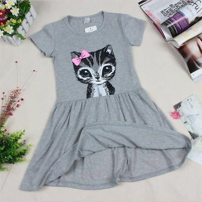 Sundress Floral Short Sleeve Cat Print Children Clothing Kids Girl Dress