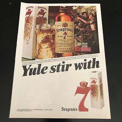 Vintage 1982 Seagrams American Whiskey Advertisement Ad Color Holiday