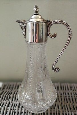 Vintage crystal glass silver plated Bacchus decanter, Falstaff, Claret decanter