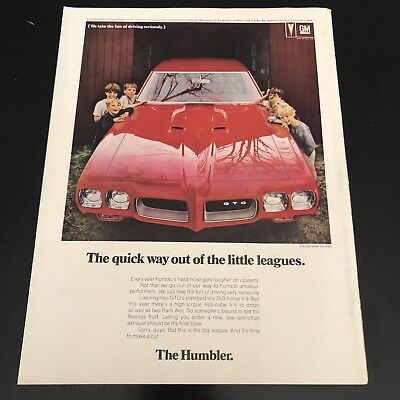 Vintage 1970 GM GTO Red Car Advertisement Ad Color