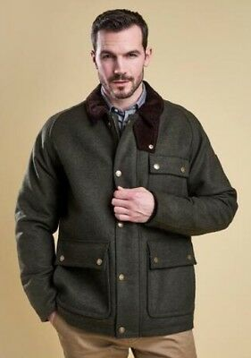 NWT Mens Barbour Olive Green Wool Jacket Huntroyde Size Large