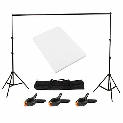 Photo Studio Background Support Stand with Free White Backdrop Carrying Case NEW