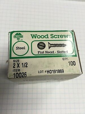 5 Boxes HILLMAN  #2 X 1/2 Inch flat  Head PLATED SLOTTED Wood Screws 100 per box