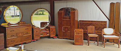 Waterfall/Art Deco Best Bedroom suite: Inlaid, etched mirrors, c1930's-40s, 7pc