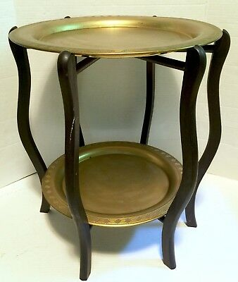 """Brass Tray Folding Table Two Tier 20""""x16.75"""" Engraved Double Vtg Wood"""