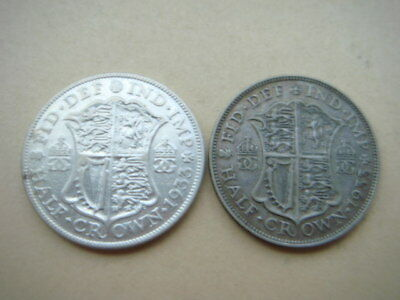Great Britain 1/2 Crown 1933, 1933--- Lot Of 2 Silver Half Crowns, Free Shipping