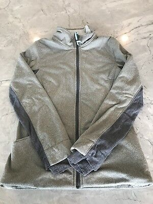 grey zip up ivivva sweatshirt with fleece on inside size girls 14