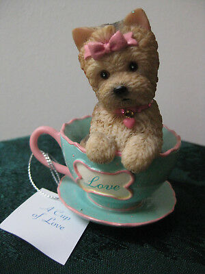"NEW IN BOX Hamilton Collection ""A Cup of Love"" Yorkie with Cert of Auth"