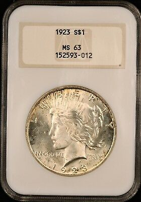 1923 Peace Silver Dollar - NGC MS63 - UNCIRCULATED - OLD FAT NGC SLAB - #593-012