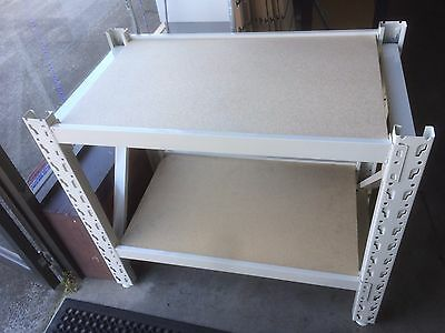 Heavy duty frame work bench with two levels and 18mm particle board