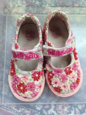 bf67bb4b57283 Lelli Kelly Toddler Girl's Size 22 US 6 White Pink Beaded Mary Jane Sneakers