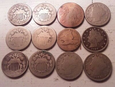 Early U.S Coin Lot - Shield Nickels, Flying Eagle Cent etc