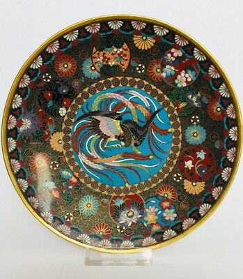 Antique Japanese Meiji Cloisonne Gold Wire Plate Dish with Phoenix