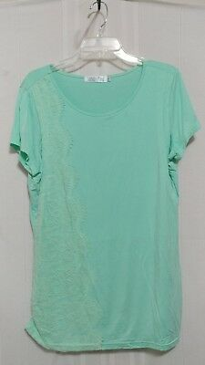 Latched Mama Large Short Sleeve Green Lace Adorned Nursing Top Tunic ls