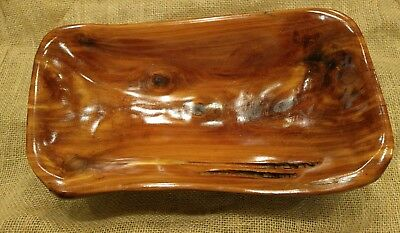 "handmade wooden bowl made of cedar from JW's (red color and 13 3/8"" x 7 1/2"")"