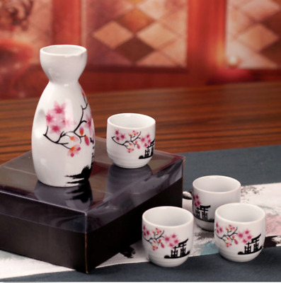 Traditional Ceramic Porcelain Japanese Sake Pot Wine Bottle With Four Cups Set