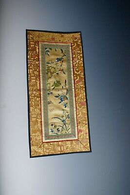 Stunning Chinese Taste Antique Silk Embroidery Panel Qing Dynasty Period