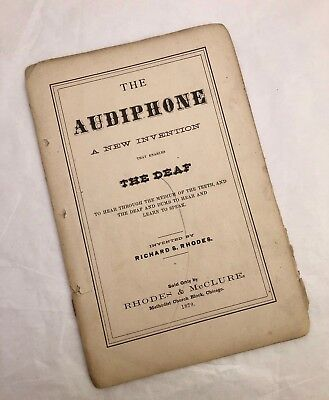 Antique 1879 Audiphone Victorian Medical Hearing Technology Pamphlet