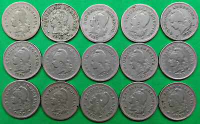 Lot of 15 Different Old Argentina 10 Centavos Coins 1899-1942 South America !!