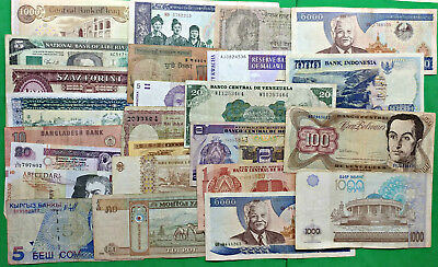 Odd Lot Accumulation of 25 World Foreign Banknotes Mostly Different !!
