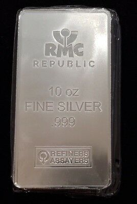 10 oz. RMC Silver Bar - Republic Metals Corp .999 Fine Sealed