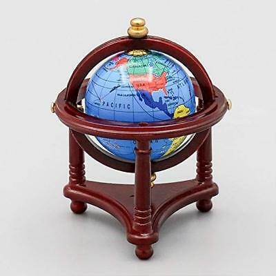 Doll House Miniature 1:12 Toy Study Room Rolling Globe Red Stand Decor Accessory