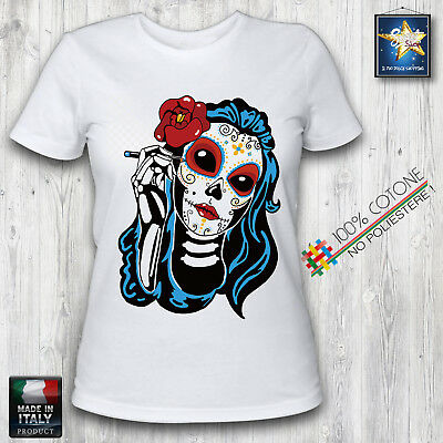 T-shirt donna skull mexican lady teschio messicano lady slim fit