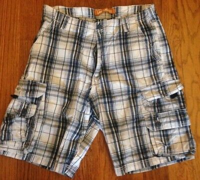 New LEE Boys/' Dungarees Belted Wyoming Cargo Shorts Navy Plaid Size 10 R
