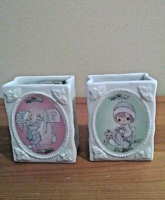 Precious Moments 1994 Porcelain Christmas Gift Bag Candles Lot of 2