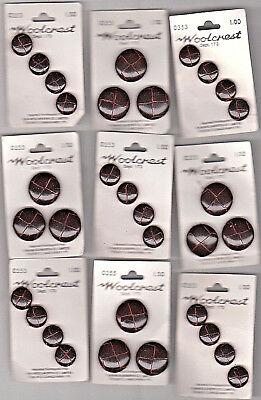 """""""F.W. WOOLWORTH CO. """"CARDS OF UNUSED LEATHER BUTTONS mix sizes ORGINAL CARDS"""