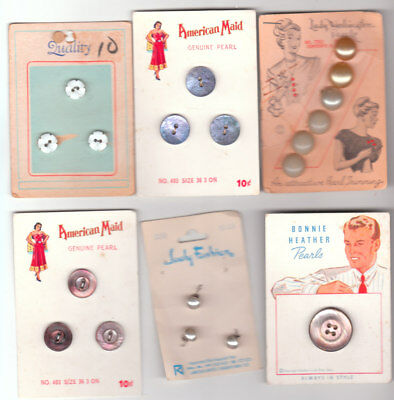 PEARL & PEARLIZED  DIFFERENT  BUTTON CARDS mix lots