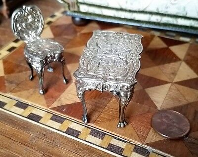 Antique Dollhouse Miniature Sterling Silver Table & Chair Marked England