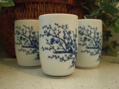 Japanese Porcelain Blue and White Tea Cups w/Cherry Blossom Design & Makers Mark