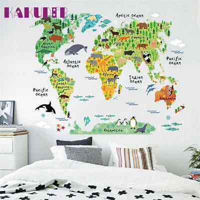 Colorful Animal World Map Wall Stickers For Kids Rooms Living Room Home