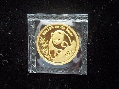 1990 China Panda 10 Yuan 1/10 Ounce Gold Coin Mint Sealed