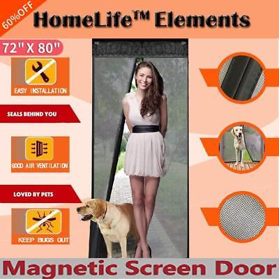 Magnetic Screen Door  Full Frame Fits Up To 34x82 Inch Pet friendly access