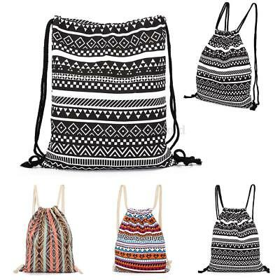 Sport Backpack Drawstring Casual School Shopping Swimming Gym Canvas Striped Bag