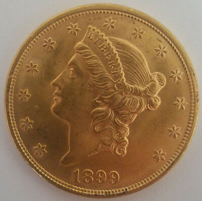 1899 $20 Gold Liberty Head Double Eagle Coin - Unc