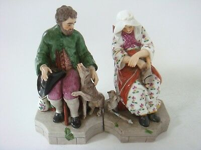 Pair Of Rare Niderviller Porcelain Figures Seated With A Hound And Cat C1800