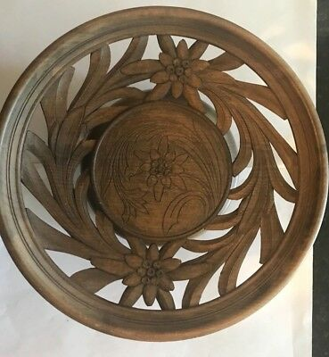 Vintage German Black Forest Carved Wood Bowl Musical Lara'S Theme Dr.zhivago