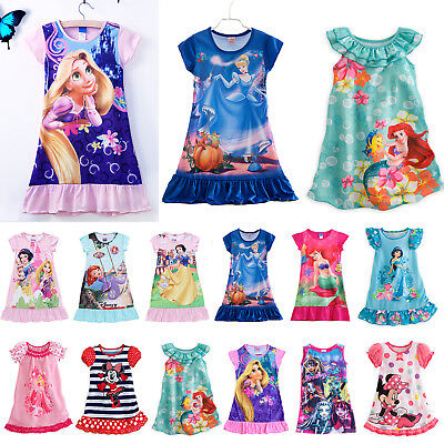 Kids Girls Casual Nightdress Nightie Nightwear Cartoon Princess Pyjamas Dress